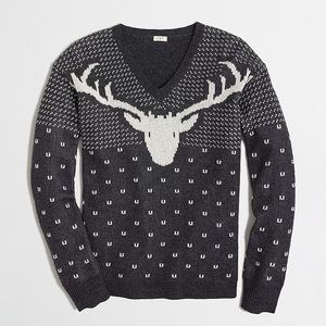 J. Crew Intarsia Grey Wool Reindeer Sweater
